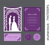 wedding invitation with bride... | Shutterstock .eps vector #744705091