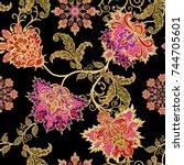 seamless pattern. golden... | Shutterstock . vector #744705601