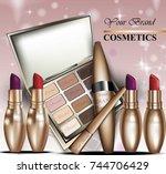 colorful cosmetics vector... | Shutterstock .eps vector #744706429