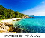 vacation retreat peaceful... | Shutterstock . vector #744706729