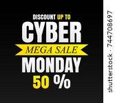 cyber monday banner on black... | Shutterstock .eps vector #744708697