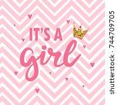 baby shower card. newborn baby... | Shutterstock .eps vector #744709705