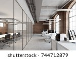 open space office interior with ... | Shutterstock . vector #744712879
