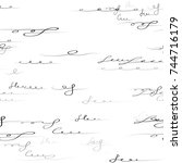 handwritten signs and letters... | Shutterstock .eps vector #744716179