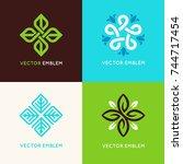vector set of logo design... | Shutterstock .eps vector #744717454