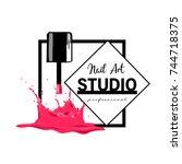 nail art studio logo design... | Shutterstock .eps vector #744718375