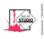 nail art studio logo design... | Shutterstock .eps vector #744718459