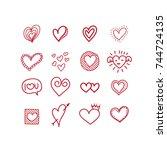 heart doodles | Shutterstock .eps vector #744724135