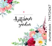 autumn angle floral frame with... | Shutterstock .eps vector #744724267