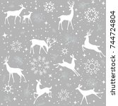 Stock vector beautiful christmas seamless pattern with gorgeous deers and snowflake amazing winter holiday 744724804