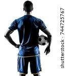 one caucasian soccer player man ... | Shutterstock . vector #744725767