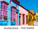 colorful streets of... | Shutterstock . vector #744726004