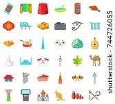 landmark icons set. cartoon... | Shutterstock . vector #744726055