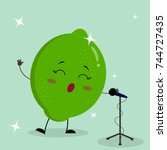 cute lime smiley in a cartoon... | Shutterstock .eps vector #744727435