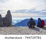 admiring landscape in the alps | Shutterstock . vector #744729781