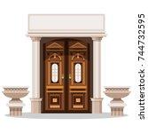 entrance doors. design of the... | Shutterstock .eps vector #744732595
