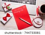 christmas shopping list | Shutterstock . vector #744733081