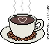 Vector Pixel Art Coffee Cup...