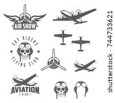set of airplane show labels.... | Shutterstock .eps vector #744733621