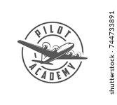 pilot academy. retro badge | Shutterstock .eps vector #744733891