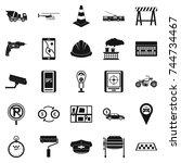 mechanical engineering icons... | Shutterstock . vector #744734467