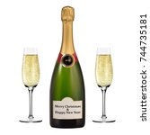 bottle of champagne and two... | Shutterstock .eps vector #744735181