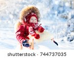sled and snow fun for kids.... | Shutterstock . vector #744737035