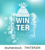 winter sale inscription on... | Shutterstock .eps vector #744739204