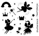 flying fairies silhouettes... | Shutterstock .eps vector #744739414
