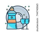 hand dishwashing liquid with... | Shutterstock .eps vector #744740065