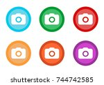 set of rounded colorful buttons ... | Shutterstock . vector #744742585