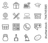 thin line icon set   pointer ... | Shutterstock .eps vector #744745585