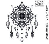 decorative round ornaments  ... | Shutterstock .eps vector #744745894