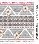 seamless pattern with... | Shutterstock . vector #744747439