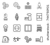 thin line icon set   gear  sun... | Shutterstock .eps vector #744750931