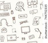 hand drawn doodle online...   Shutterstock .eps vector #744752335