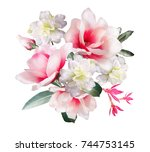 watercolor flowers. floral... | Shutterstock . vector #744753145