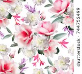 tropical seamless pattern.... | Shutterstock . vector #744753499