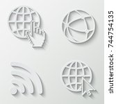 internet and wi fi icons  ... | Shutterstock .eps vector #744754135