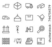 thin line icon set   delivery ... | Shutterstock .eps vector #744754579