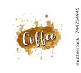 coffee logo stains isolated on... | Shutterstock .eps vector #744754945