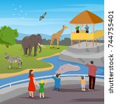 zoo flat colored composition... | Shutterstock .eps vector #744755401
