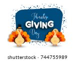 happy thanksgiving day greeting ... | Shutterstock .eps vector #744755989