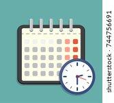 calendar and clock icon.... | Shutterstock .eps vector #744756691