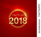 happy new year design layout on ... | Shutterstock .eps vector #744756991