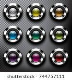 abstract metallic web buttons... | Shutterstock .eps vector #744757111