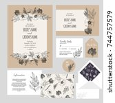 set of templates  for wedding... | Shutterstock .eps vector #744757579