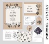 set of templates  for wedding... | Shutterstock .eps vector #744757579