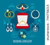wedding jewelry round...   Shutterstock .eps vector #744758215