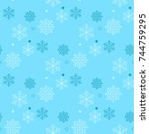 snowflakes seamless pattern.... | Shutterstock .eps vector #744759295